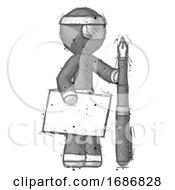 Sketch Ninja Warrior Man Holding Large Envelope And Calligraphy Pen