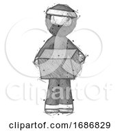 Sketch Ninja Warrior Man Holding Box Sent Or Arriving In Mail