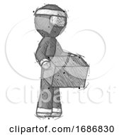 Sketch Ninja Warrior Man Holding Package To Send Or Recieve In Mail