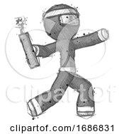 Sketch Ninja Warrior Man Throwing Dynamite