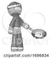 Sketch Ninja Warrior Man Frying Egg In Pan Or Wok Facing Right