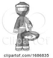 Sketch Ninja Warrior Man Frying Egg In Pan Or Wok
