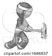 Sketch Ninja Warrior Man With Ax Hitting Striking Or Chopping