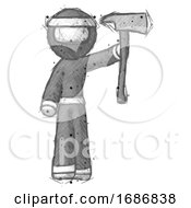 Sketch Ninja Warrior Man Holding Up FirefighterS Ax