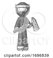 Sketch Ninja Warrior Man Holding Fire FighterS Ax