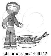 Sketch Ninja Warrior Man And Noodle Bowl Giant Soup Restaraunt Concept