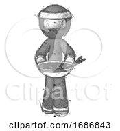 Sketch Ninja Warrior Man Serving Or Presenting Noodles