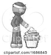 Sketch Ninja Warrior Man With Giant Cupcake Dessert