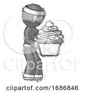 Sketch Ninja Warrior Man Holding Large Cupcake Ready To Eat Or Serve