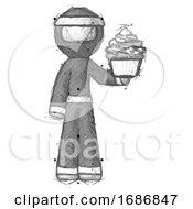 Sketch Ninja Warrior Man Presenting Pink Cupcake To Viewer