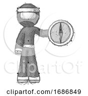 Sketch Ninja Warrior Man Holding A Large Compass