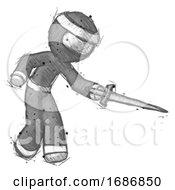Sketch Ninja Warrior Man Sword Pose Stabbing Or Jabbing