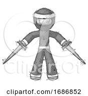 Sketch Ninja Warrior Man Two Sword Defense Pose