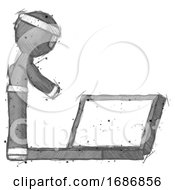 Sketch Ninja Warrior Man Using Large Laptop Computer Side Orthographic View