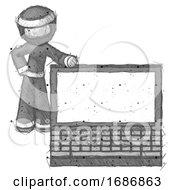 Sketch Ninja Warrior Man Beside Large Laptop Computer Leaning Against It