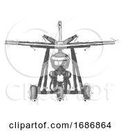 Sketch Ninja Warrior Man In Ultralight Aircraft Front View