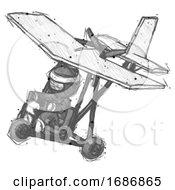 Sketch Ninja Warrior Man In Ultralight Aircraft Top Side View