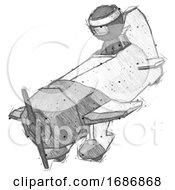 Sketch Ninja Warrior Man In Geebee Stunt Plane Descending View