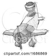 Sketch Ninja Warrior Man In Geebee Stunt Plane Descending Front Angle View