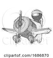 Sketch Ninja Warrior Man Flying In Geebee Stunt Plane Viewed From Below
