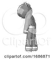 Sketch Ninja Warrior Man Depressed With Head Down Back To Viewer Left