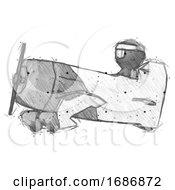 Sketch Ninja Warrior Man In Geebee Stunt Aircraft Side View