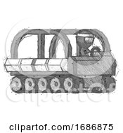 Sketch Ninja Warrior Man Driving Amphibious Tracked Vehicle Side Angle View