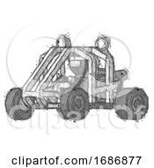 Sketch Ninja Warrior Man Riding Sports Buggy Side Angle View