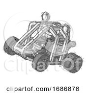 Sketch Ninja Warrior Man Riding Sports Buggy Side Top Angle View