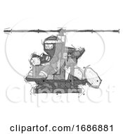 Sketch Ninja Warrior Man Flying In Gyrocopter Front Side Angle View