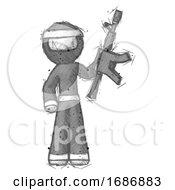 Poster, Art Print Of Sketch Ninja Warrior Man Holding Automatic Gun