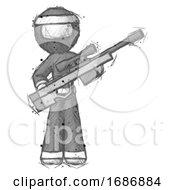 Poster, Art Print Of Sketch Ninja Warrior Man Holding Sniper Rifle Gun