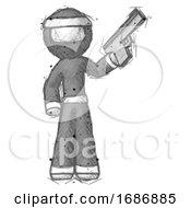 Sketch Ninja Warrior Man Holding Handgun