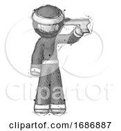 Sketch Ninja Warrior Man Suicide Gun Pose