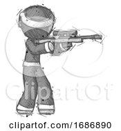 Poster, Art Print Of Sketch Ninja Warrior Man Shooting Sniper Rifle
