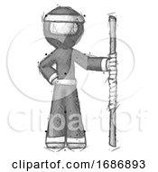 Sketch Ninja Warrior Man Holding Staff Or Bo Staff