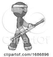 Sketch Ninja Warrior Man Holding Bo Staff In Sideways Defense Pose