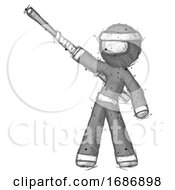 Sketch Ninja Warrior Man Bo Staff Pointing Up Pose