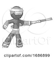Sketch Ninja Warrior Man Bo Staff Pointing Right Kung Fu Pose