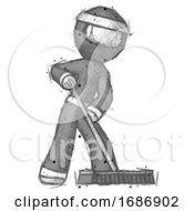 Sketch Ninja Warrior Man Cleaning Services Janitor Sweeping Floor With Push Broom