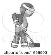 Sketch Ninja Warrior Man Cleaning Services Janitor Sweeping Side View