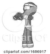 Poster, Art Print Of Sketch Ninja Warrior Man Holding Binoculars Ready To Look Left