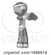 Poster, Art Print Of Sketch Ninja Warrior Man Holding Binoculars Ready To Look Right