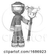 Poster, Art Print Of Sketch Ninja Warrior Man Holding Jester Staff
