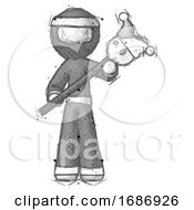 Poster, Art Print Of Sketch Ninja Warrior Man Holding Jester Diagonally