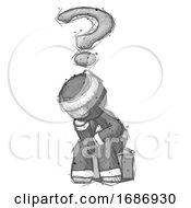 Sketch Ninja Warrior Man Thinker Question Mark Concept