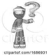 Sketch Ninja Warrior Man Holding Question Mark To Right