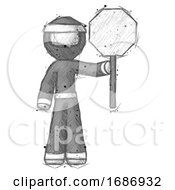 Sketch Ninja Warrior Man Holding Stop Sign