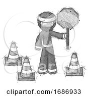 Poster, Art Print Of Sketch Ninja Warrior Man Holding Stop Sign By Traffic Cones Under Construction Concept