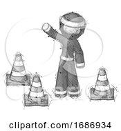 Poster, Art Print Of Sketch Ninja Warrior Man Standing By Traffic Cones Waving